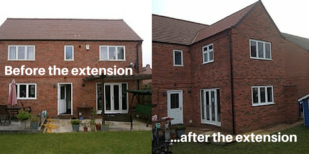 Before and after Double Storey Extension Mawsley